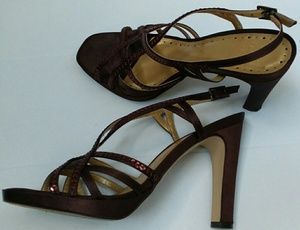 BCBG Paric Brown Satin Strapy Heels sz 7.5 M